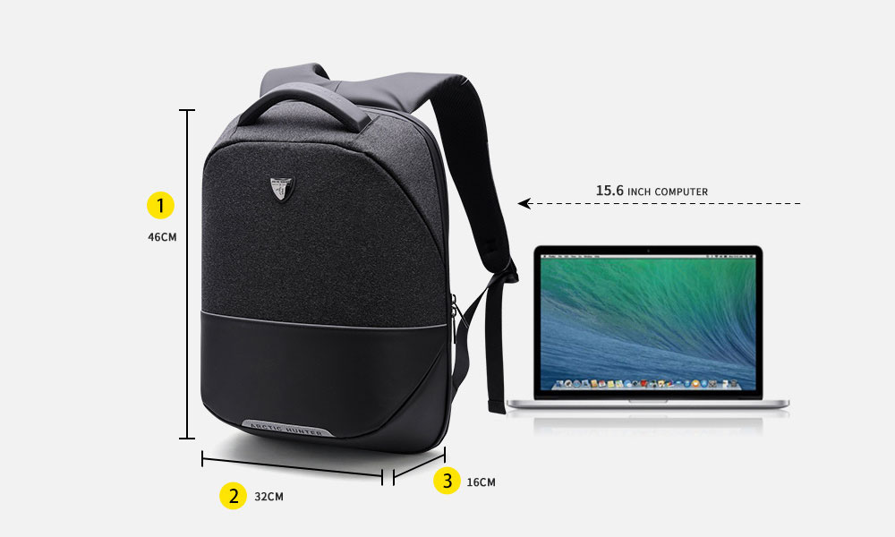 ARCTIC HUNTER Business Anti-theft Backpack with USB Charging Port- Black