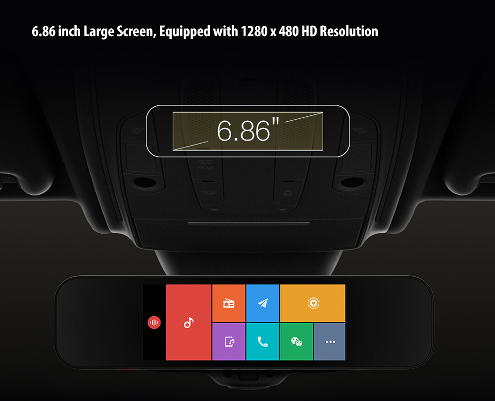 Xiaomi 70mai Smart Rearview Mirror 6.86 inch Double Recording Parking Monitoring Car DVR Camera- Black