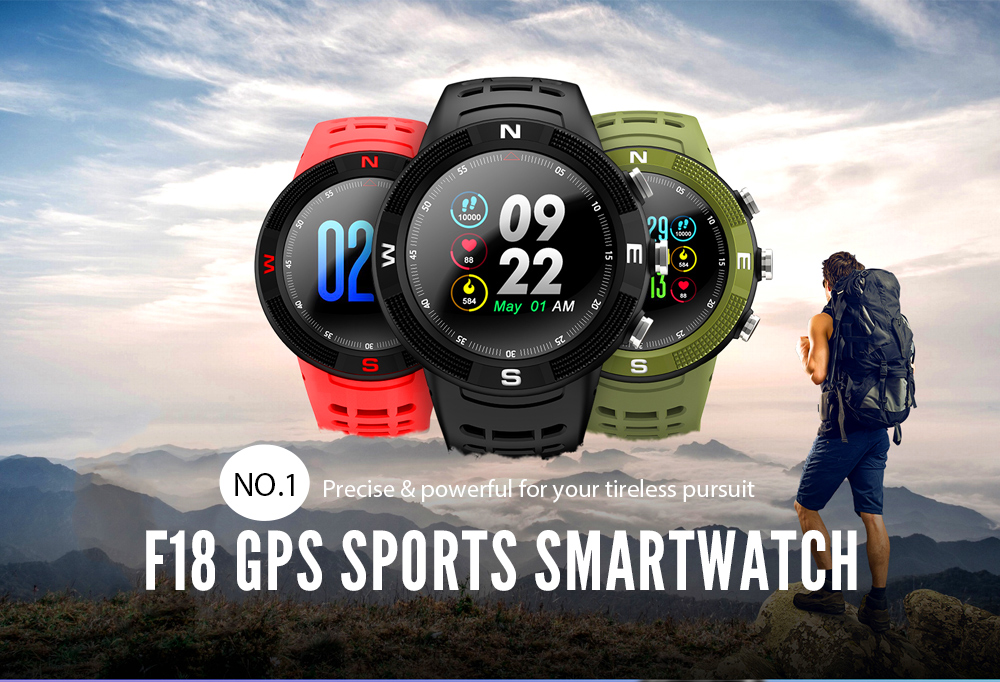 NO.1 F18 Smartwatch Sports Bluetooth 4.2 IP68 Waterproof Call / Message Reminder Pedometer Sleep Monitoring- Black