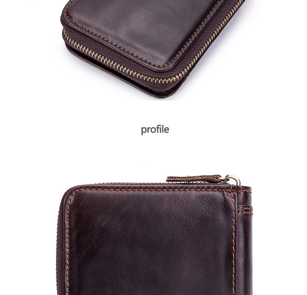 New Fashion Design Men High Quality Leather Wallet- Deep Coffee Vertical