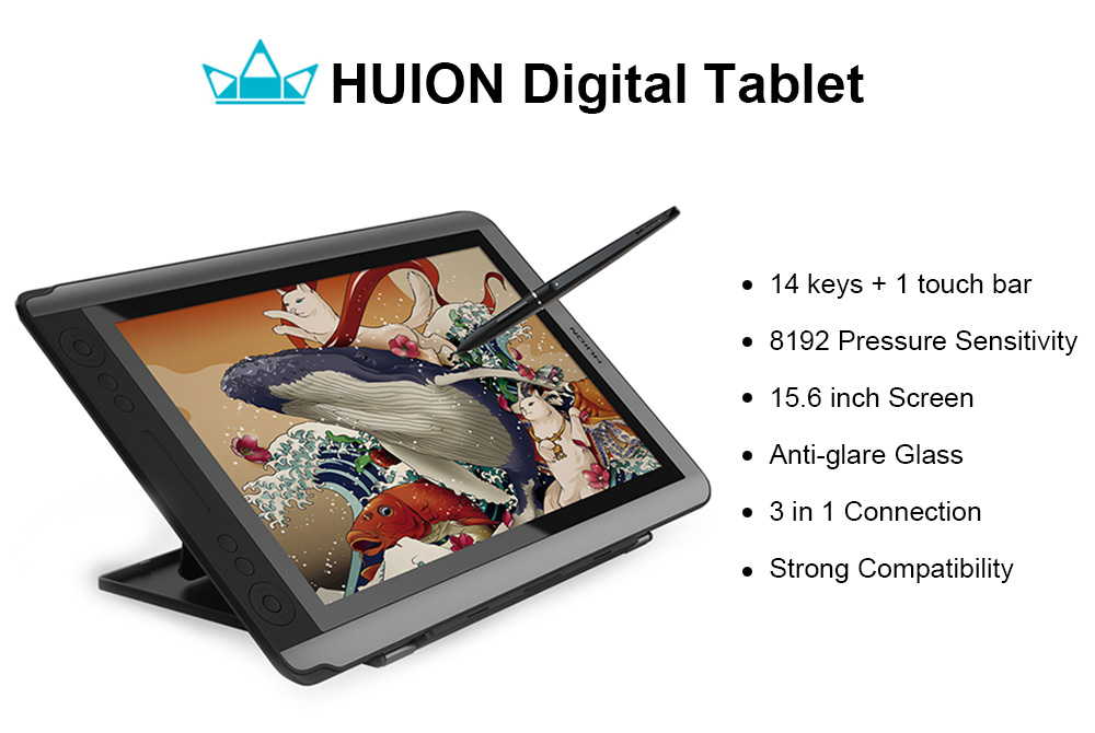 Huion Kamvas GT - 156HD V2 15 6 inch Digital Tablet with 8192 Pressure  Sensitivity