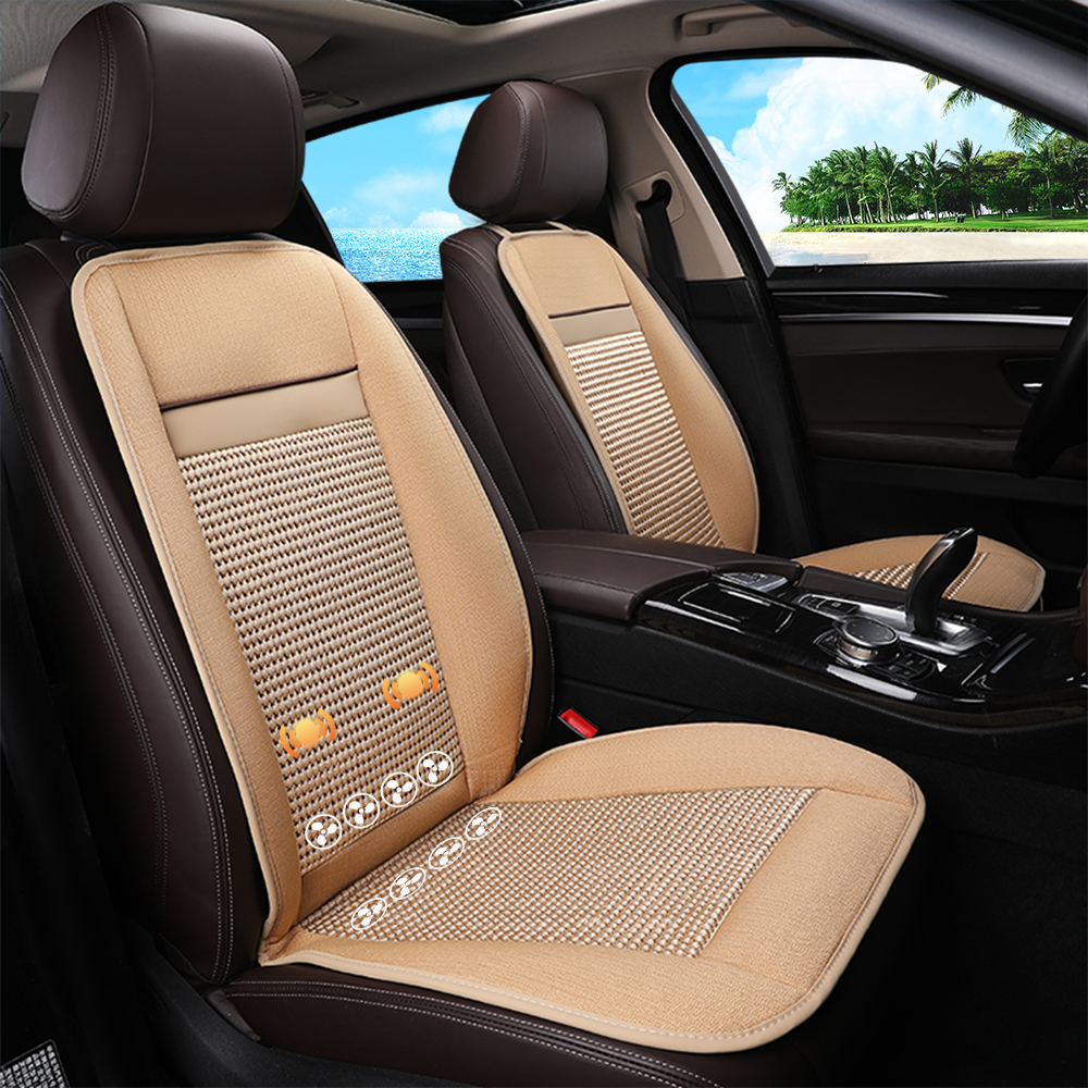 Flax Seat Cover Refrigeration Blowing Cooling Massage Smart Car Cushion Deep Brown