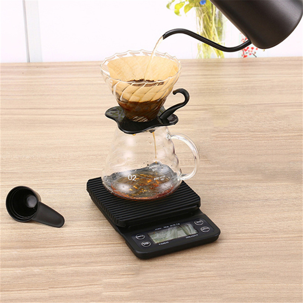 Portable 3KG 0.1g Drip Coffee With Timer Electronic Digital Kitchen Scale- Black