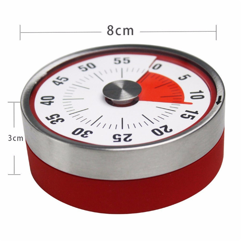 60 Minutes Kitchen Timer Cooking Baking Reminder Mechanical Counter Alarm Clock- Red