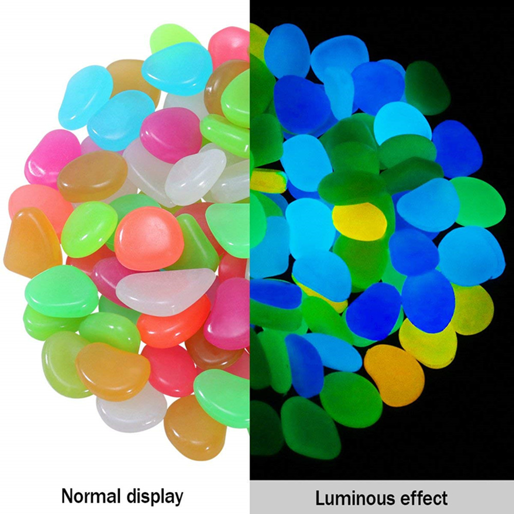 100PCS Glow in the Dark Luminous Pebbles Stones Fish Tank Aquarium Party Event- Multi-A