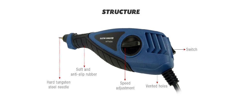 Electric Grout Remover with Carving / Polishing Function- Steel Blue