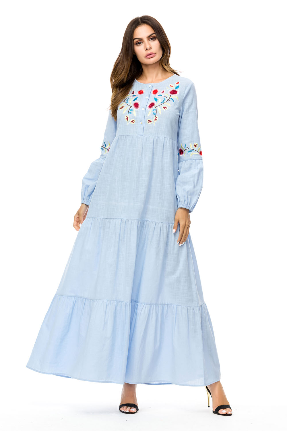 a9a85c3573d Women s Abaya Simple Multi-Layer Pleated Embroidered Dress- Coral Blue L