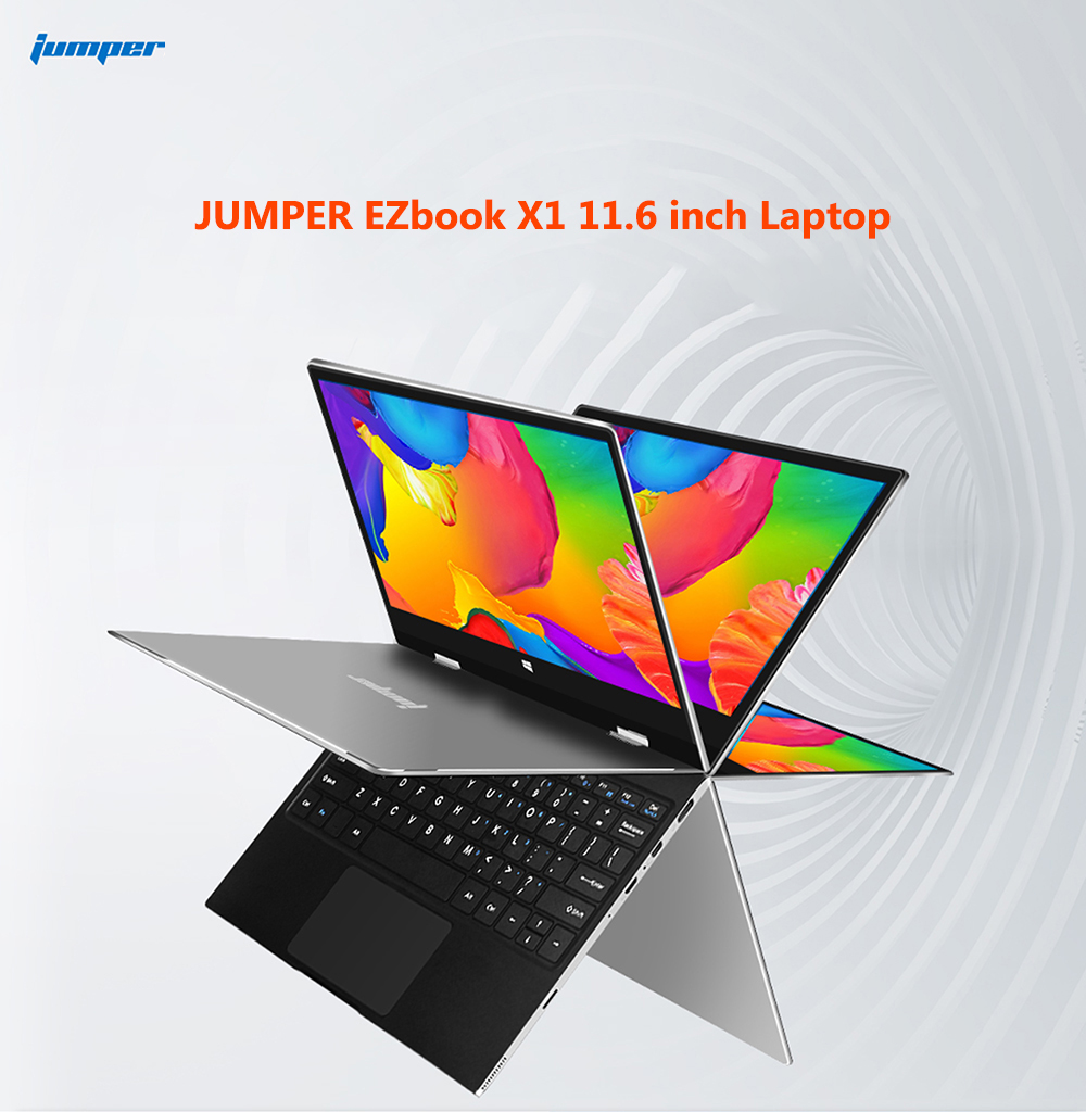 JUMPER EZbook X1 Laptop 11.6 inch Windows 10 Home Version Intel Celeron Gemini Lake N4100 Quad Core 1.1GHz 4GB RAM 64GB eMMC + 64GB SSD HDMI Camera Dual WiFi- Silver