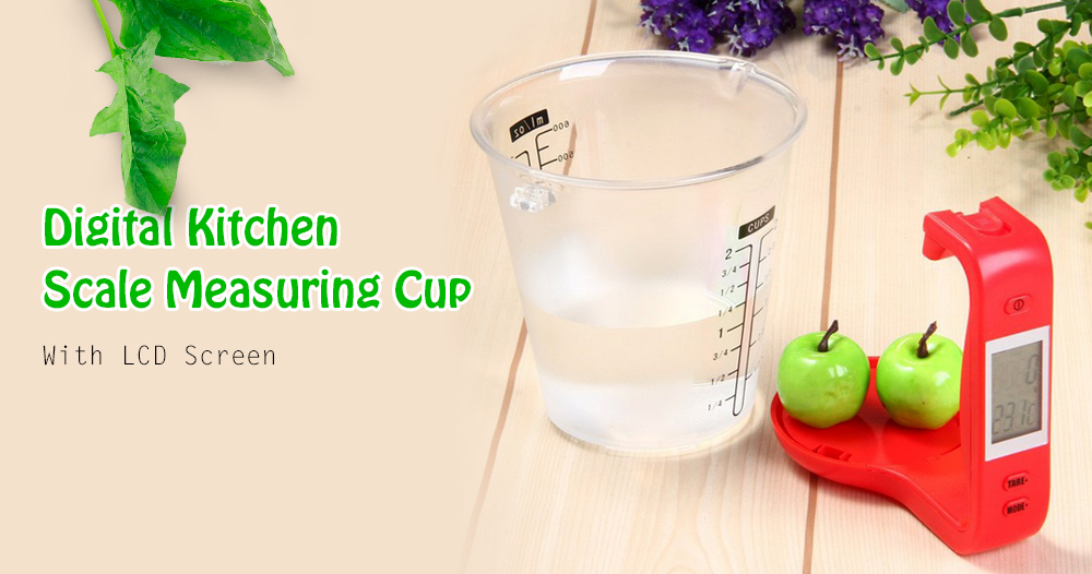 Multifunctional Digital Kitchen Scale Measuring Cup- Green