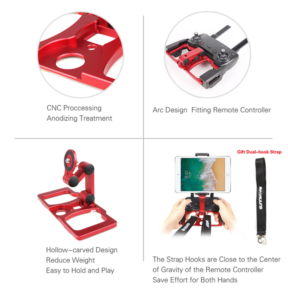 Remote Controller Smartphone Tablet Clip Holder For Dji Mavic Pro Dual Hook Bracket Spark Adapter With Neck Strap Air Ruby Red