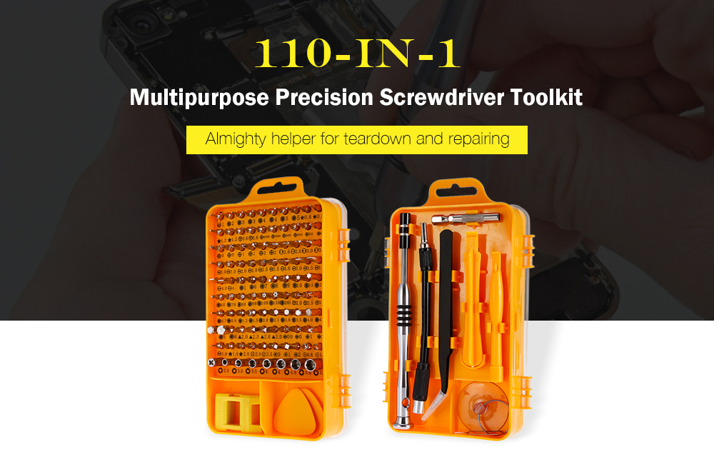 110-in-1 Precision Screwdriver Tool Set for Mobile Phone / Clock- Yellow