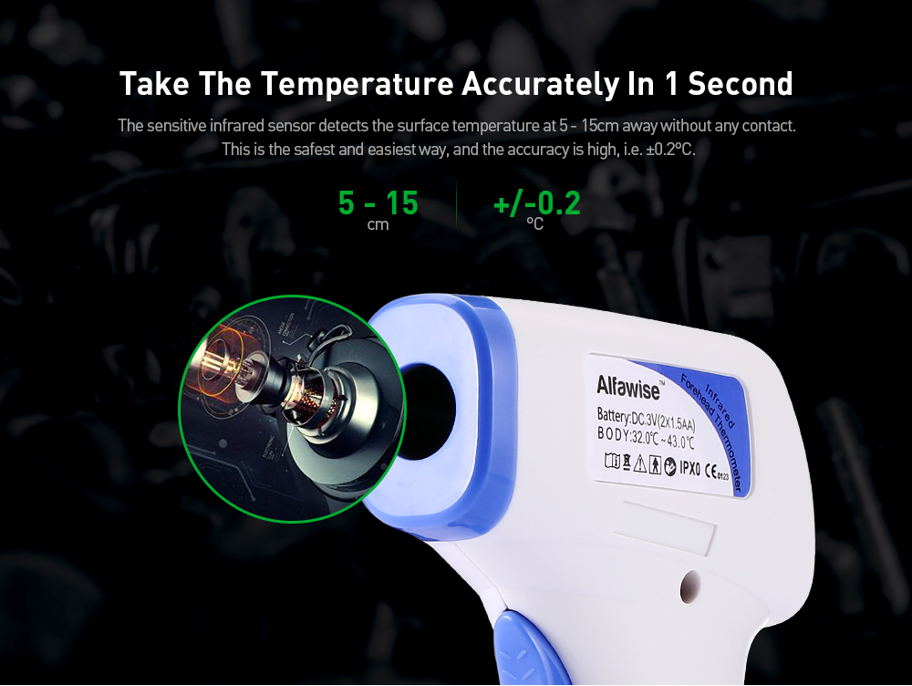 Alfawise Non-contact Body Infrared Thermometer Gun with LCD Digital Display- White