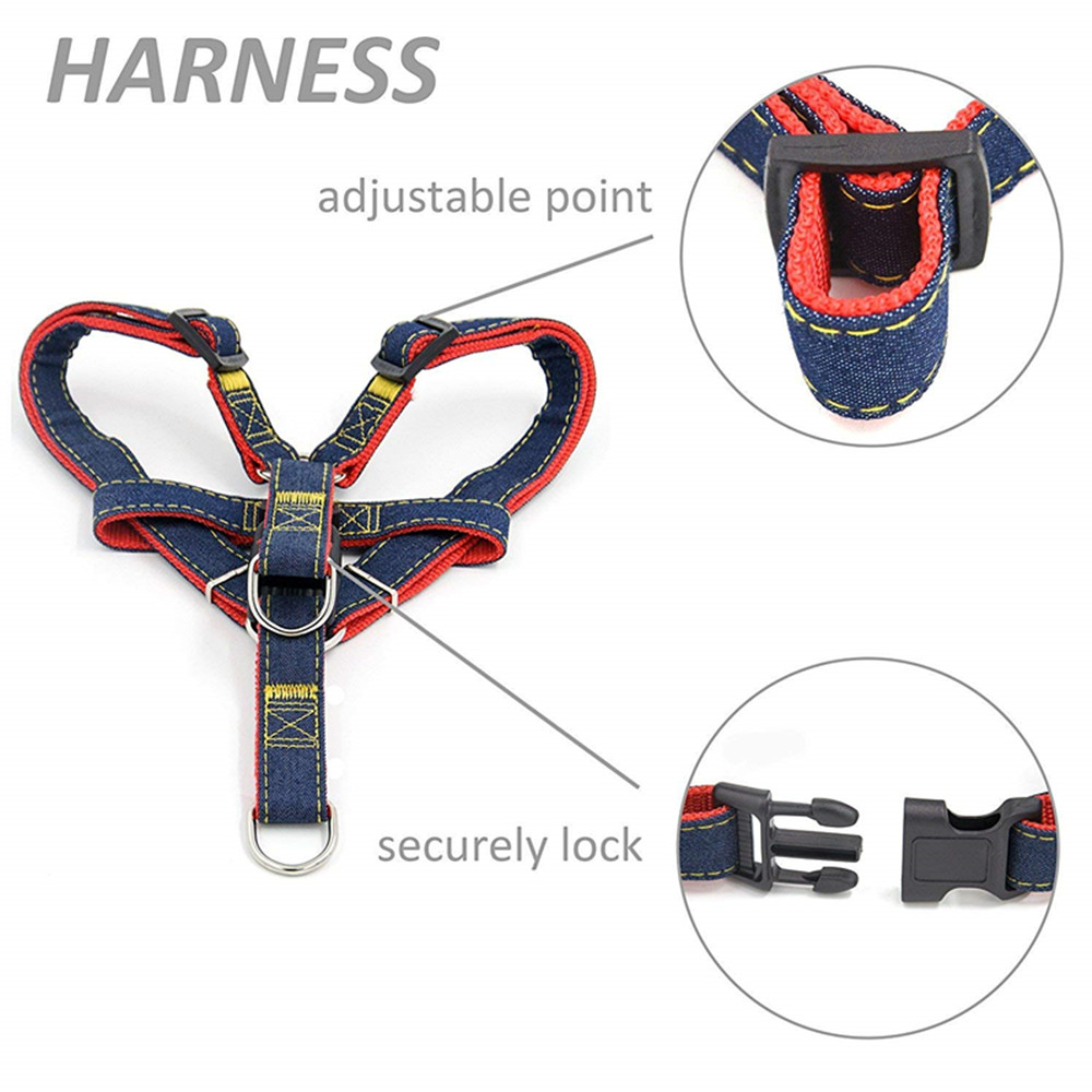 Adjustable Denim Pet Dog Cat Leash Harness and Cowboy Strap Rope Chain