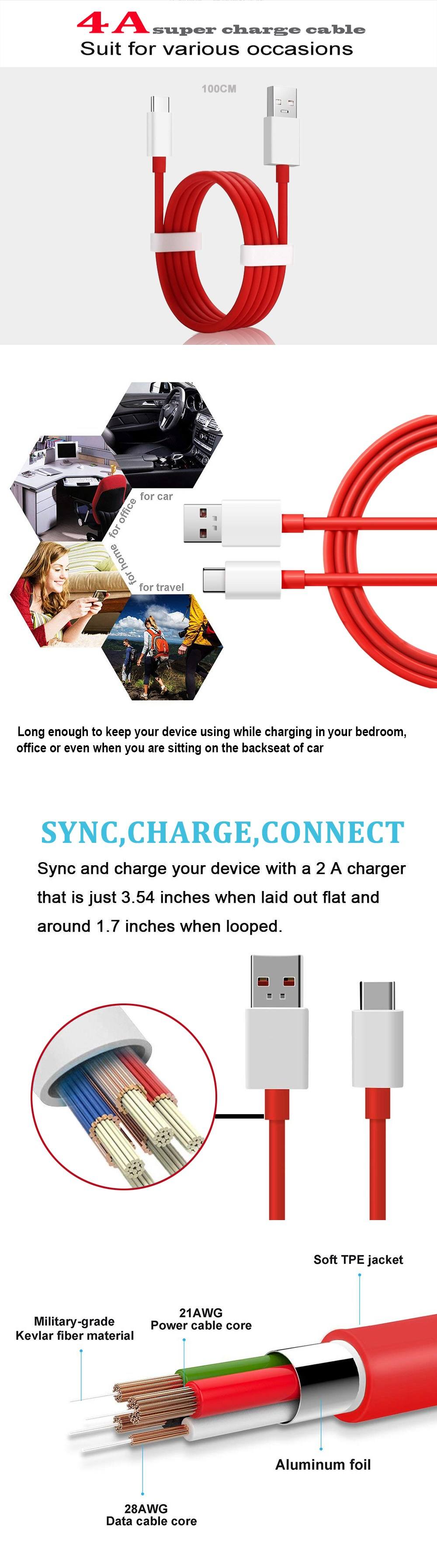 USB Type-C 4A Fast Charging  Data Transfer Cable for Oneplus 6 / 5T / 5 / 3 / 3T- Red