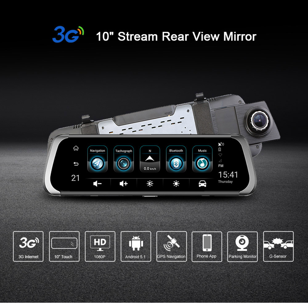 Junsun A920 Dual Lens Rearview Mirror 10999 Free Shipping Channel Remote View Mobile Dvr With Shock Sensor And Wifi Antenna 10 Inch Touch Screen Hd 1080p Android 51 Gps Recorder Dash Camera