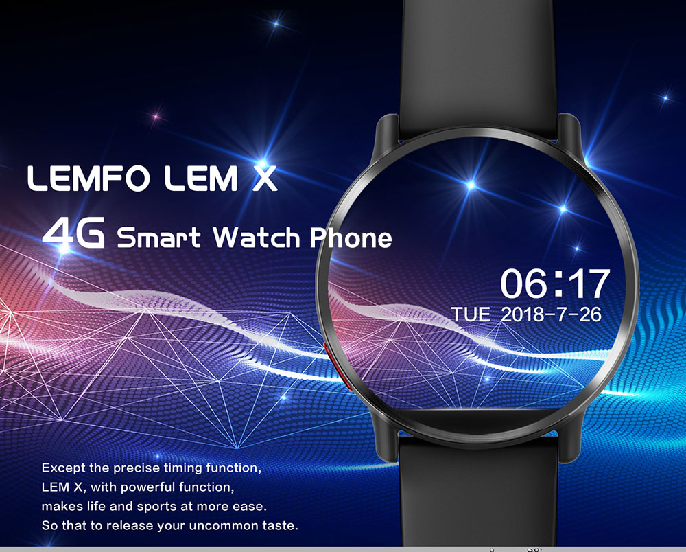 LEMFO LEM X 4G Smartwatch Phone 2.03 inch Android 7.1 MTK 6739 1.5GHz 1GB RAM 16GB ROM Sedentary Reminder 8.0MP Camera 900mAh Built-in- Black