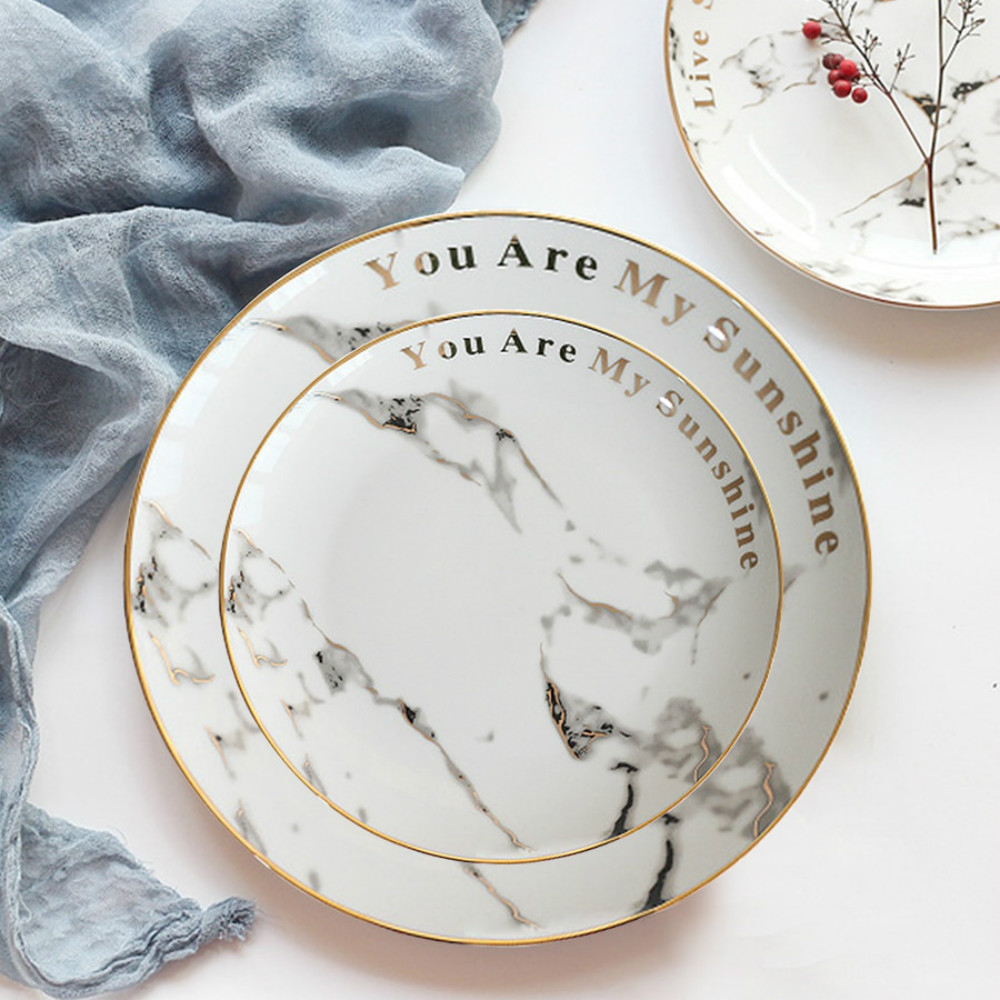Ceramic Dinner Plate Marble Pattern Gold Drawing Round Shaped Home Dining Dish- Crystal Cream