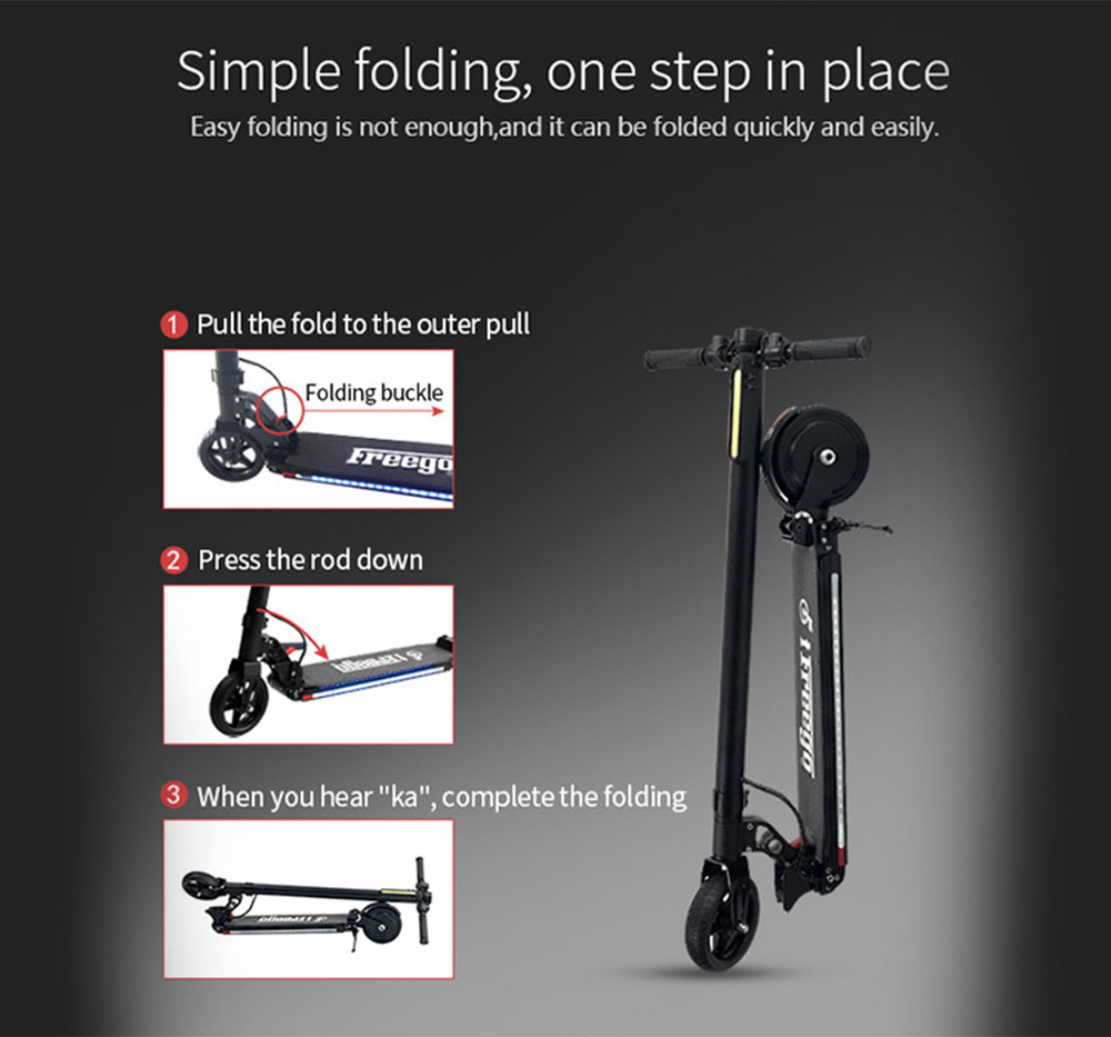Freego ES - 06X Two Wheels Shockproof Folding Electric Scooter 6.6Ah Battery- Black US Plug