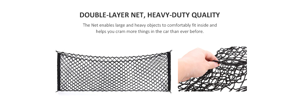 Universal Trunk Organizer Storage Net for Car - Black