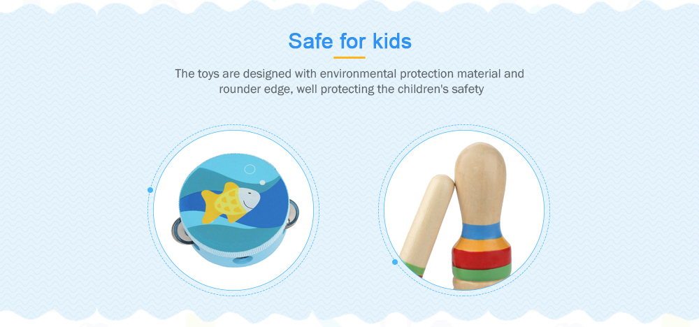 Percussion Musical Instrument Toy Kit Drum Bell Horn Hammer Tambourine Castanets Wooden Stick for Kids Baby Early Education 11PCS- Day Sky Blue