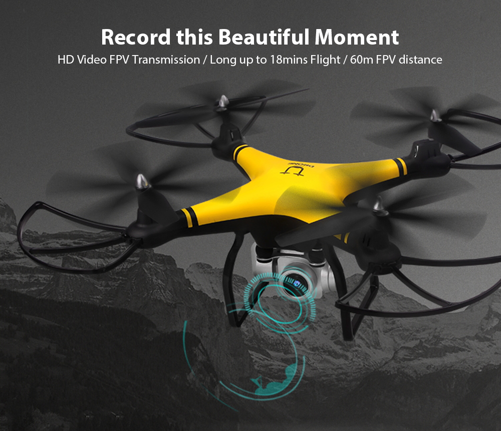 Utoghter 69608 WiFi FPV RC Drone 18mins Flight Altitude Hold G-sensor Control- White 720P Camera