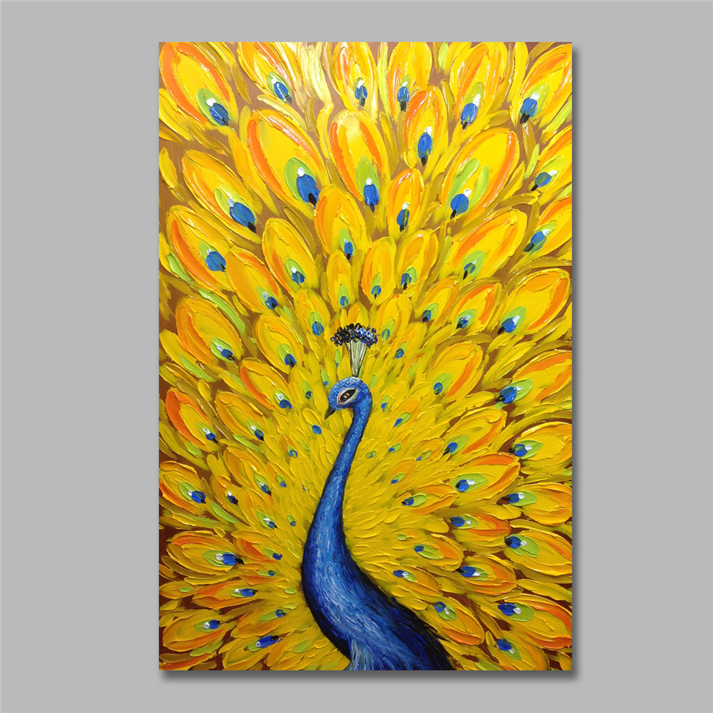 No Frame Modern Hand-Paint Abstract Wall Decor Oil Painting on canvas,Peacock