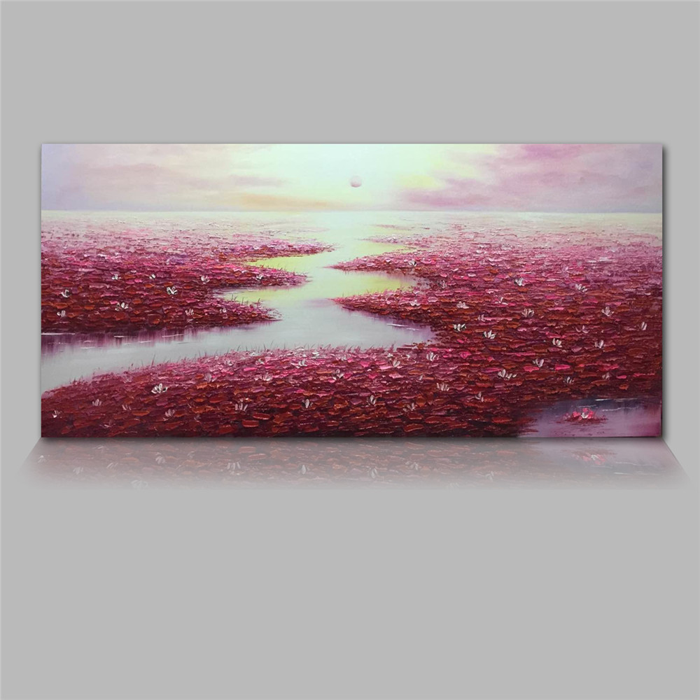 Styledecor Modern Hand Painted Abstract Red Lotus Pond Oil Painting On Canvas