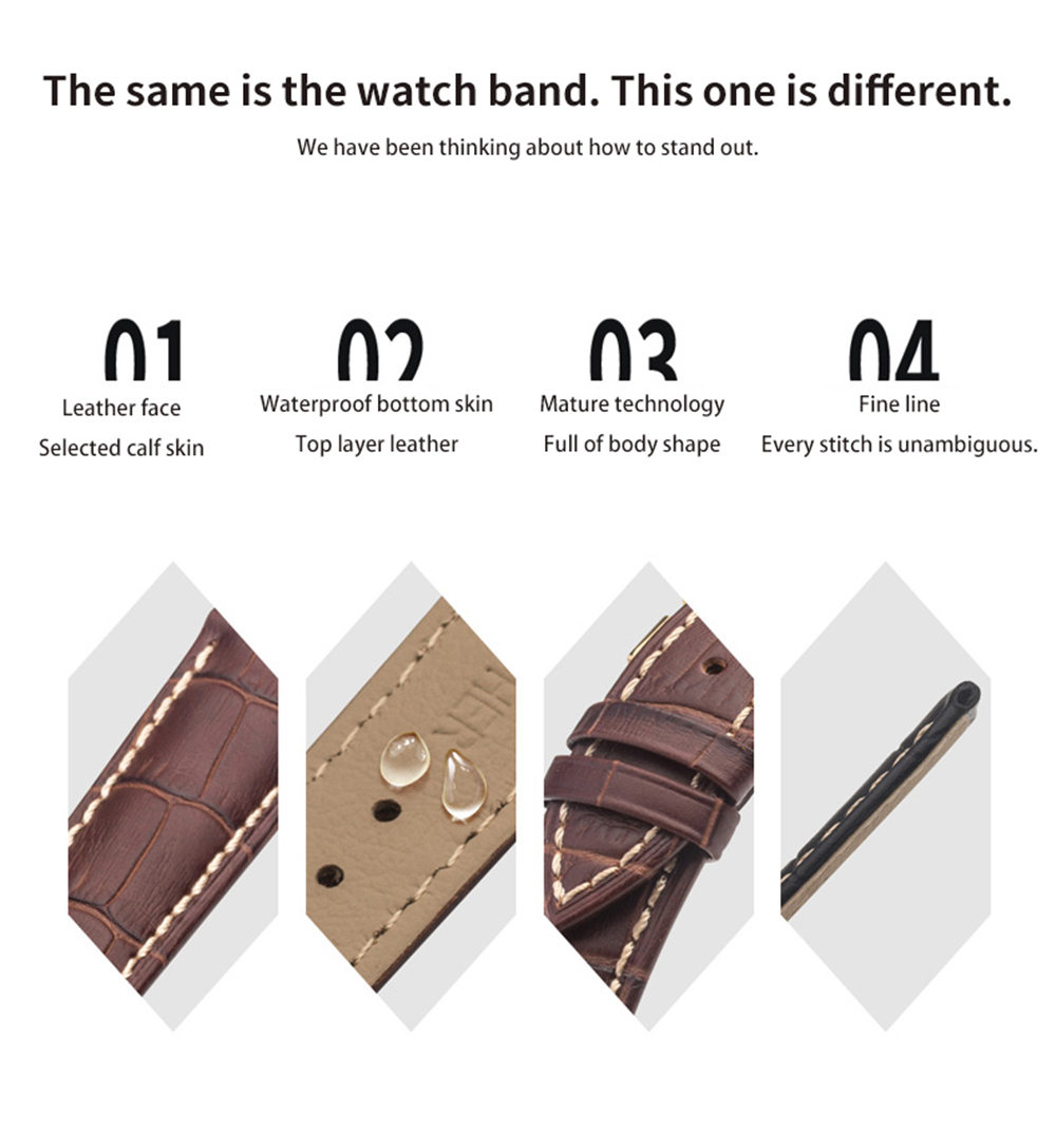 Men's Genuine Leather Watch Strap Band Twister with Buckle Spring Bars- Coffee 20MM