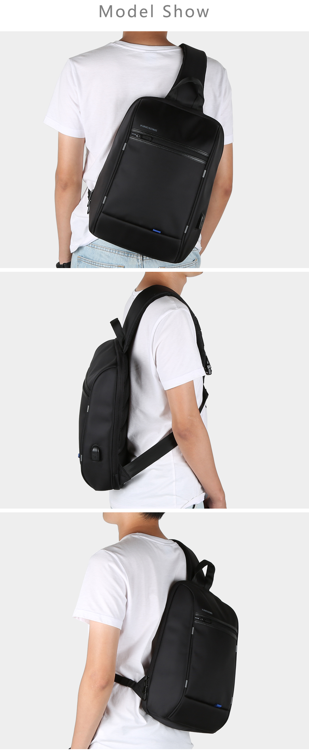 Kingsons Crossbody Bags for Men Messenger Chest Casual Anti-theft USB Charging- Black