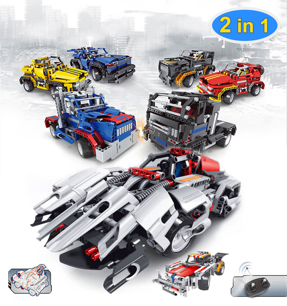 Creative 2 in 1 Electric DIY Assembled Building Blocks Car with Remote Control for Kids- Yellow