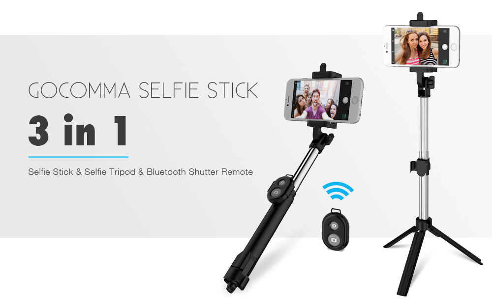 gocomma 3 in 1 Handheld Extendable Bluetooth Selfie Stick Tripod  Monopod Remote for iOS iPhone Android Smart Phone- Black
