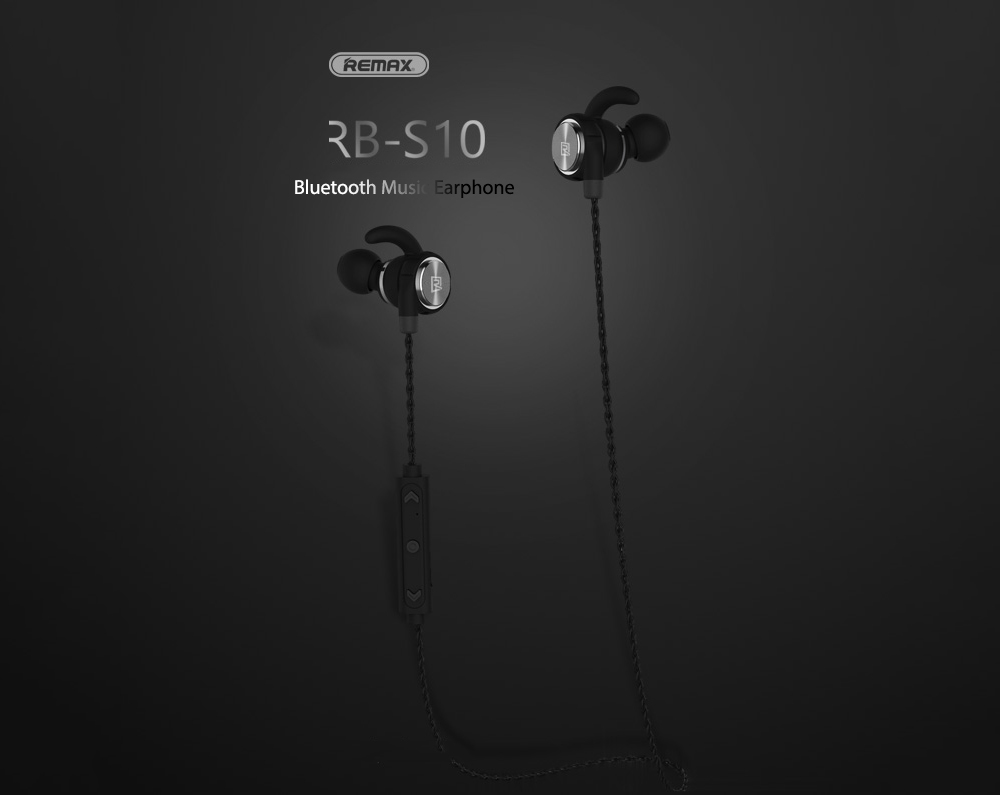 Remax RB - S10 Mini Smart Stereo Bluetooth Earphone In-ear Wired Earbuds with Mic- Gray Wolf