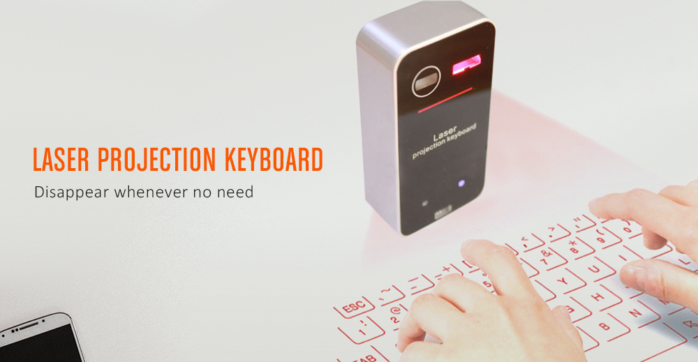 KB560S Portable Laser Projection Wireless Bluetooth Virtual Keyboard for iPhone / iPad / Smartphone / Tablet PC- Black