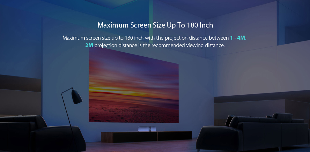 Maximum 180 Inch Display Size