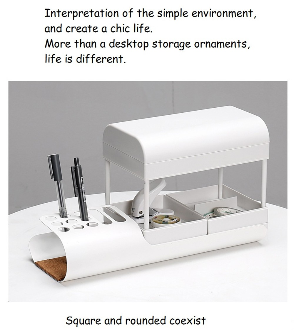 Desk Accessories & Organizer Have An Inquiring Mind Stationery Office Desk Organizer Stick On Desktop Pencil Box Pen Holder Makeup Storage Brush Pot Plastic A Wide Selection Of Colours And Designs