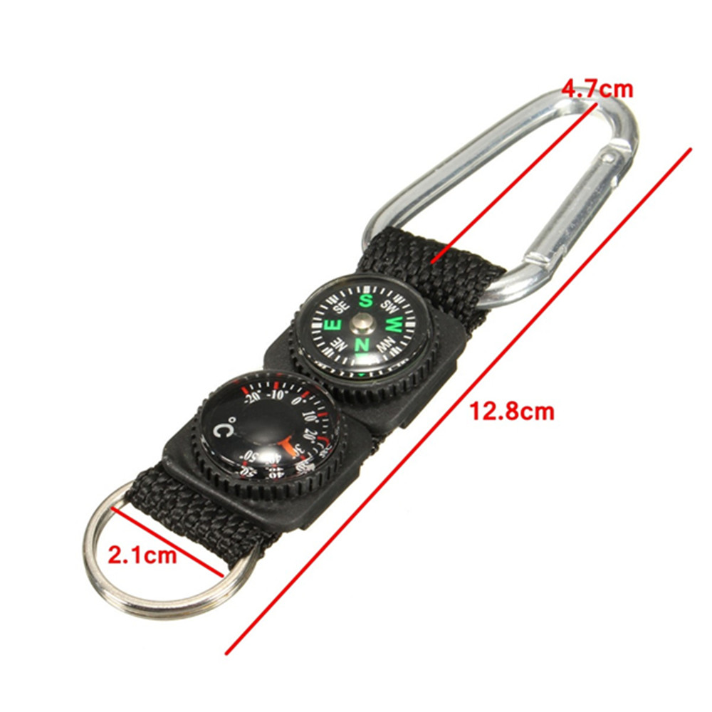3 in 1 Survival Keychain Ring Camping Buckle Compass Thermometer Multifunctional- Black