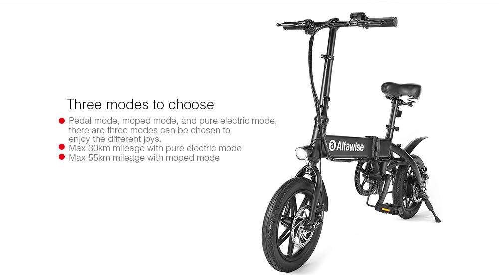 Alfawise YINYU14 Outdoor Aluminum Alloy Smart Folding Electric Bike Moped Bicycle - Black