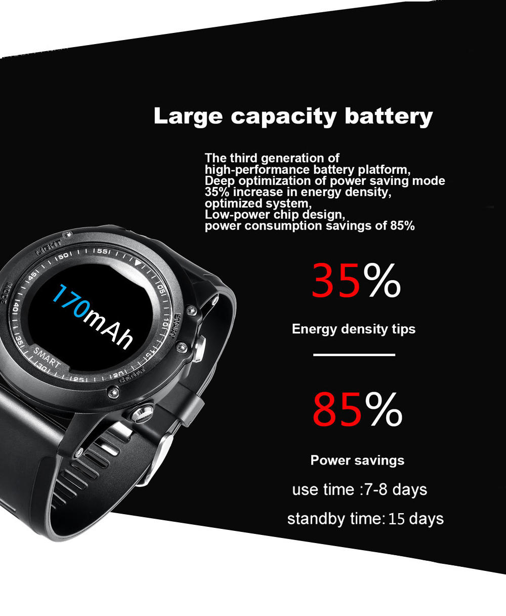T2 0.96 inch Sports Smart Watch Bluetooth 4.0 96KB RAM 2MB ROM IP67 Waterproof Call / Message Reminder Heart Rate Monitor Blood Pressure Functions- Black