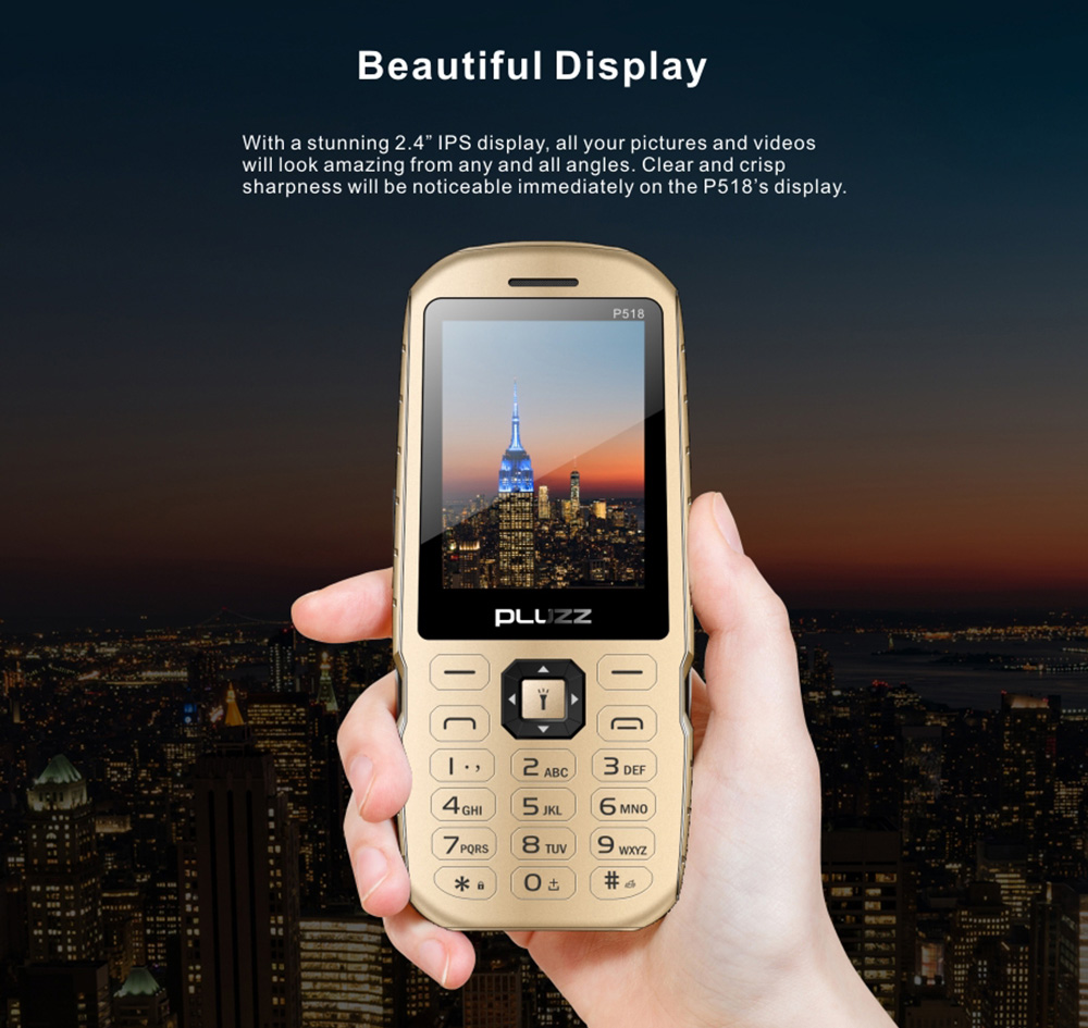 PLUZZ P518 2G Quad Band Phone- Gold