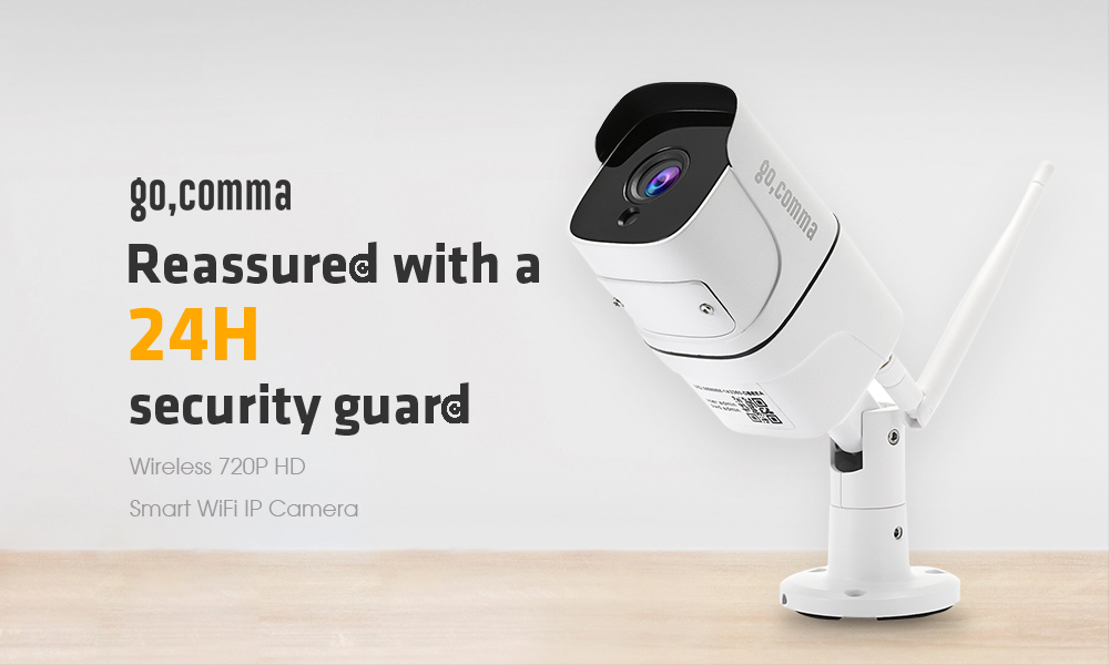 Gocomma 720P 1.0MP IP65 Waterproof Wireless Smart WiFi IP Camera for Home Security- White