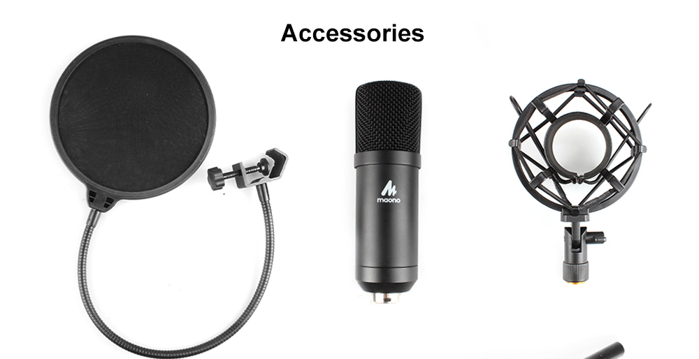 MAONO AU - A04 USB Condenser Microphone for Podcasting Vocal Skype- Black