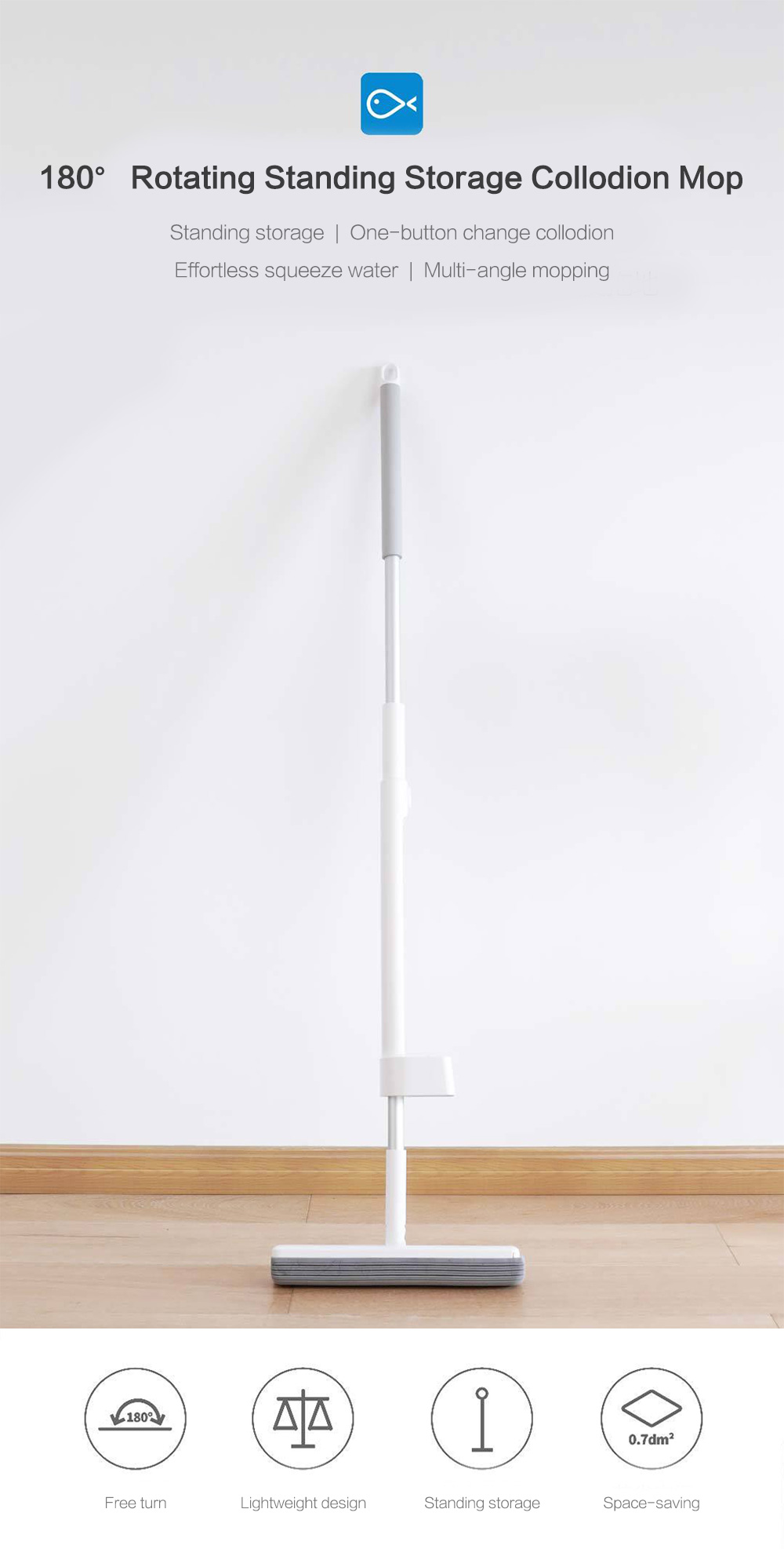 180-degree Rotating Standing Storage Space-saving Mop with Collodion Head from Xiaomi Youpin- White