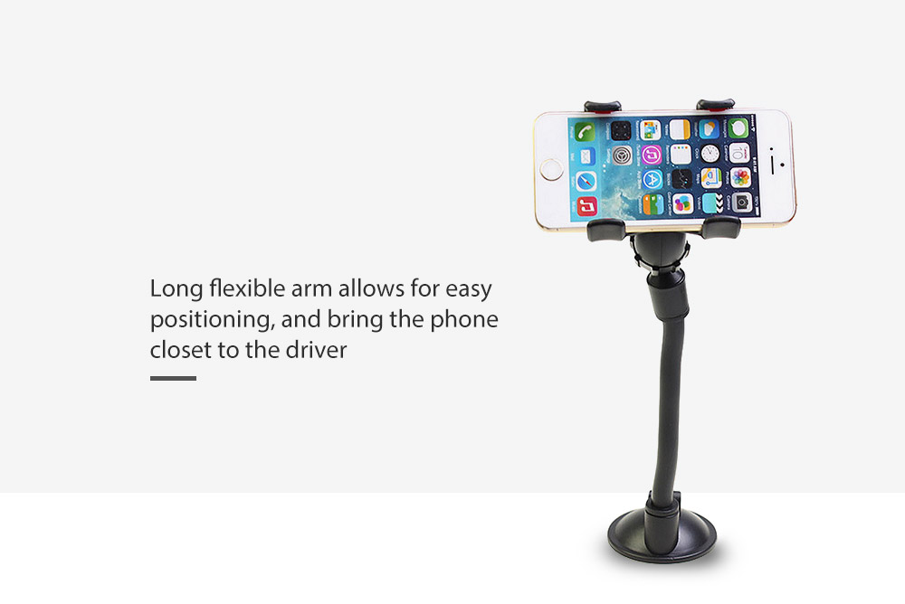 Quelima Long Arm Universal Soft Tube Mount 360 Degrees Rotation Car Windshield Holder Sucker Phone Bracket GPS Navigation Stand - Black
