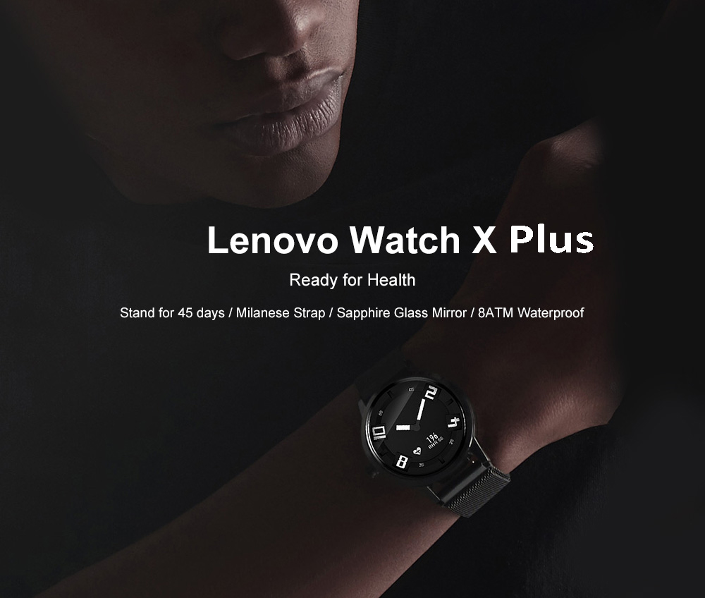 Lenovo Watch X Plus Bluetooth Waterproof Smartwatch Support iOS and Android with Heart Rate Monitor Blood Barometer Functions- Black