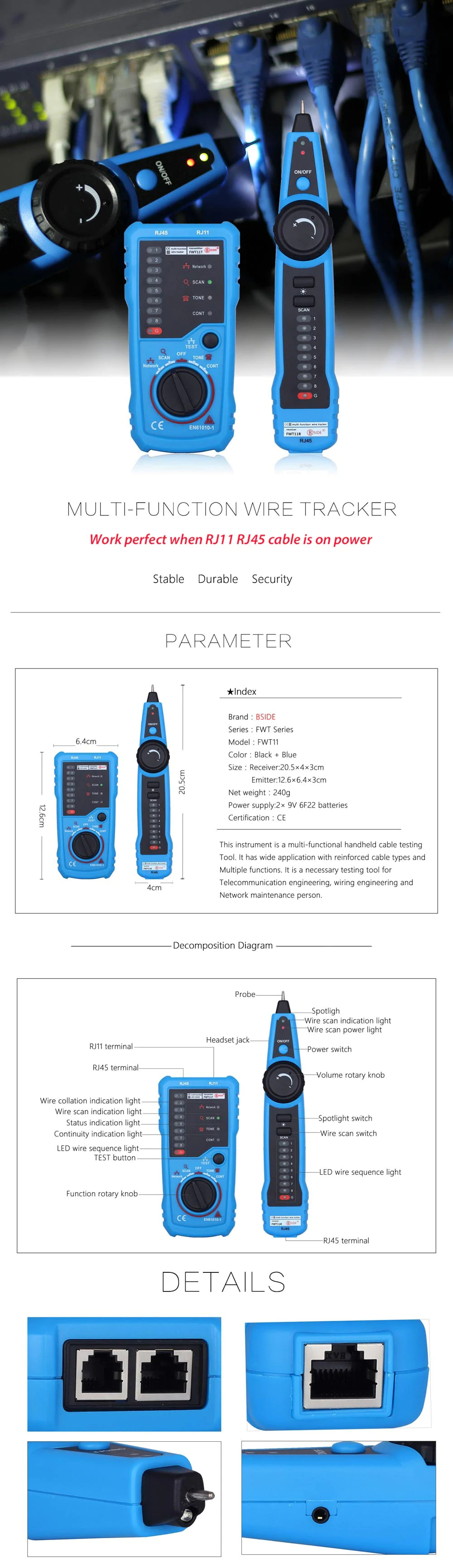 Bside Fwt11 Rj45 Rj11 Telephone Wire Line Finder Tracker 3373 Connect To Wiring Diagram Blue