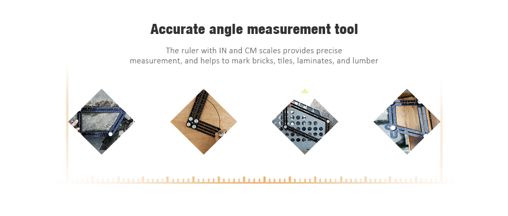 Multi Angle Measuring Ruler Premium Aluminum Alloy Layout Template Tools for Hanging Tile Laying Floors Cutting Wood Stone- Black