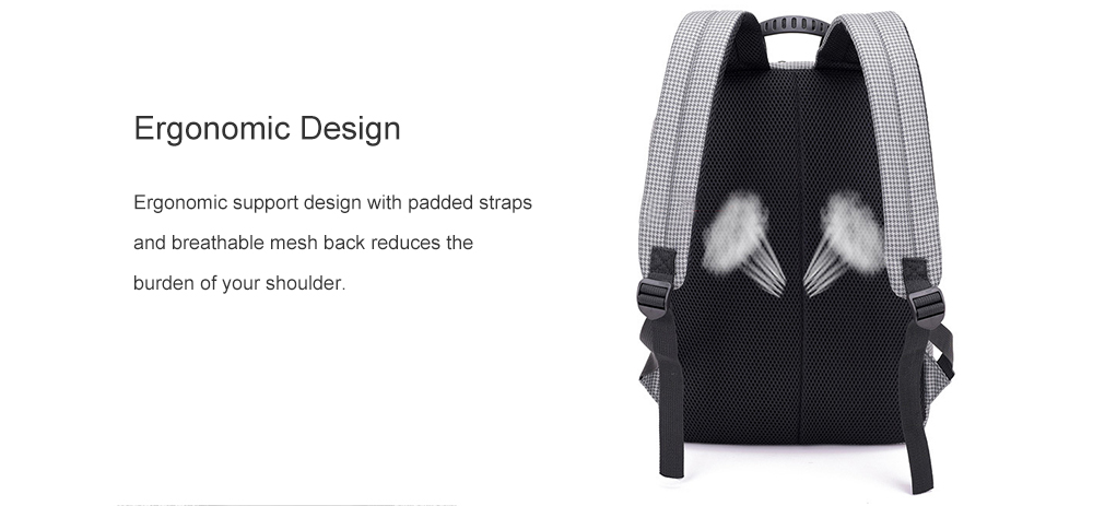 Stylish Stripe Business Laptop Backpack with USB Port- Steel Blue