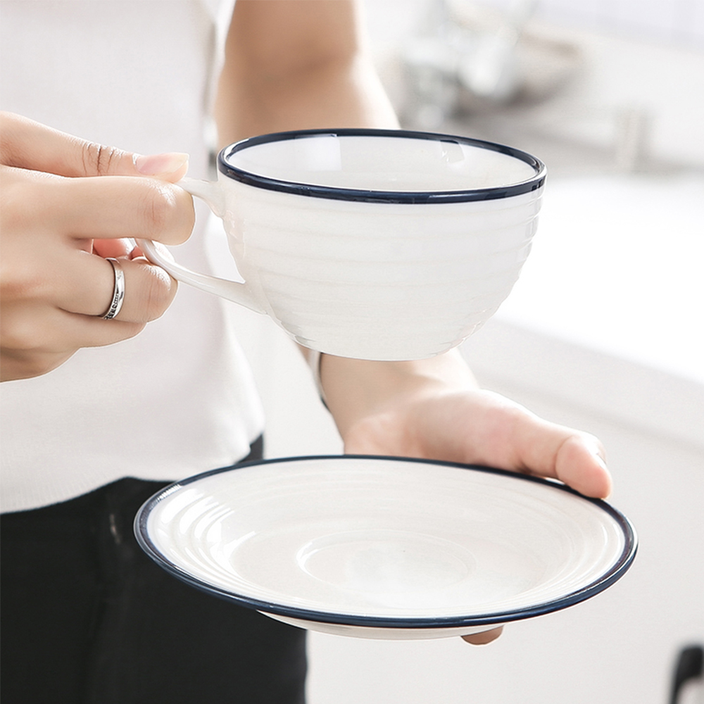 Originality Minimalism Afternoon Tea Coffee Cup And Saucer Suit- White