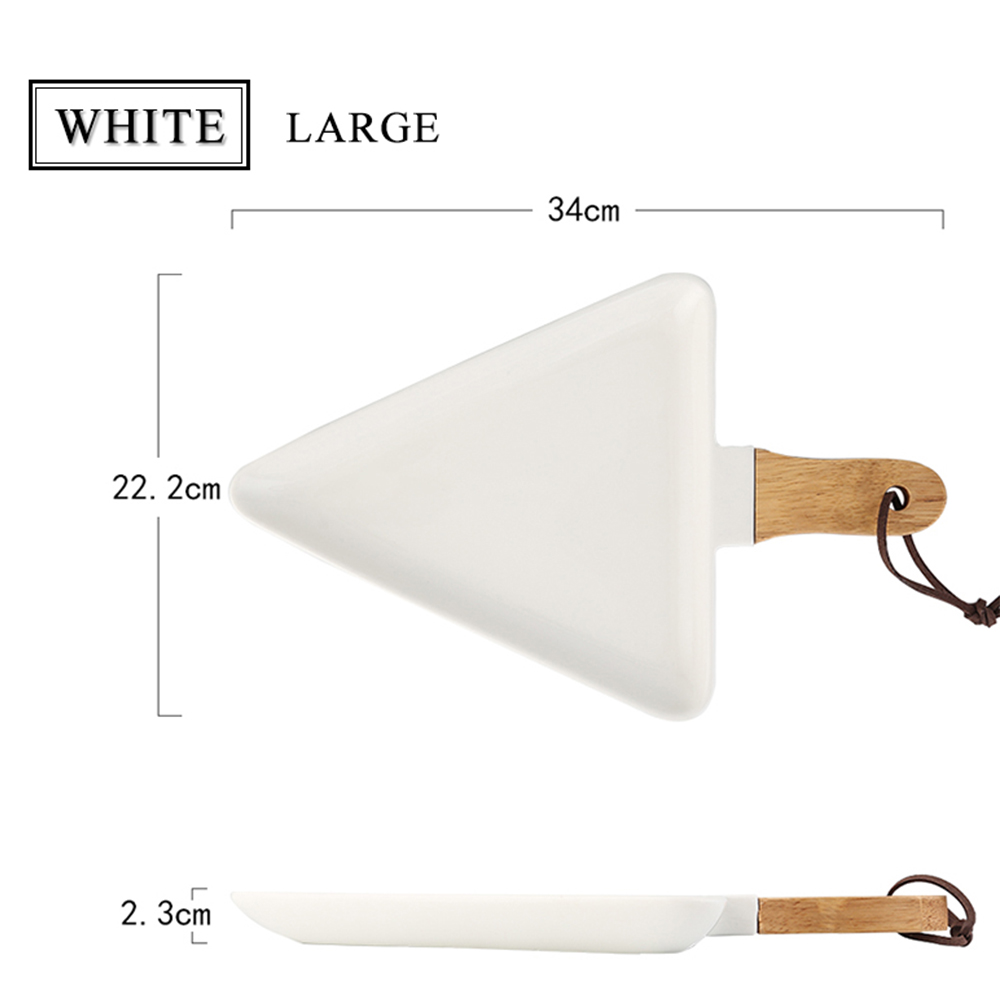 Northern Europe Triangular Ceramic Tableware Wooden Handle Dinner Plate- White S