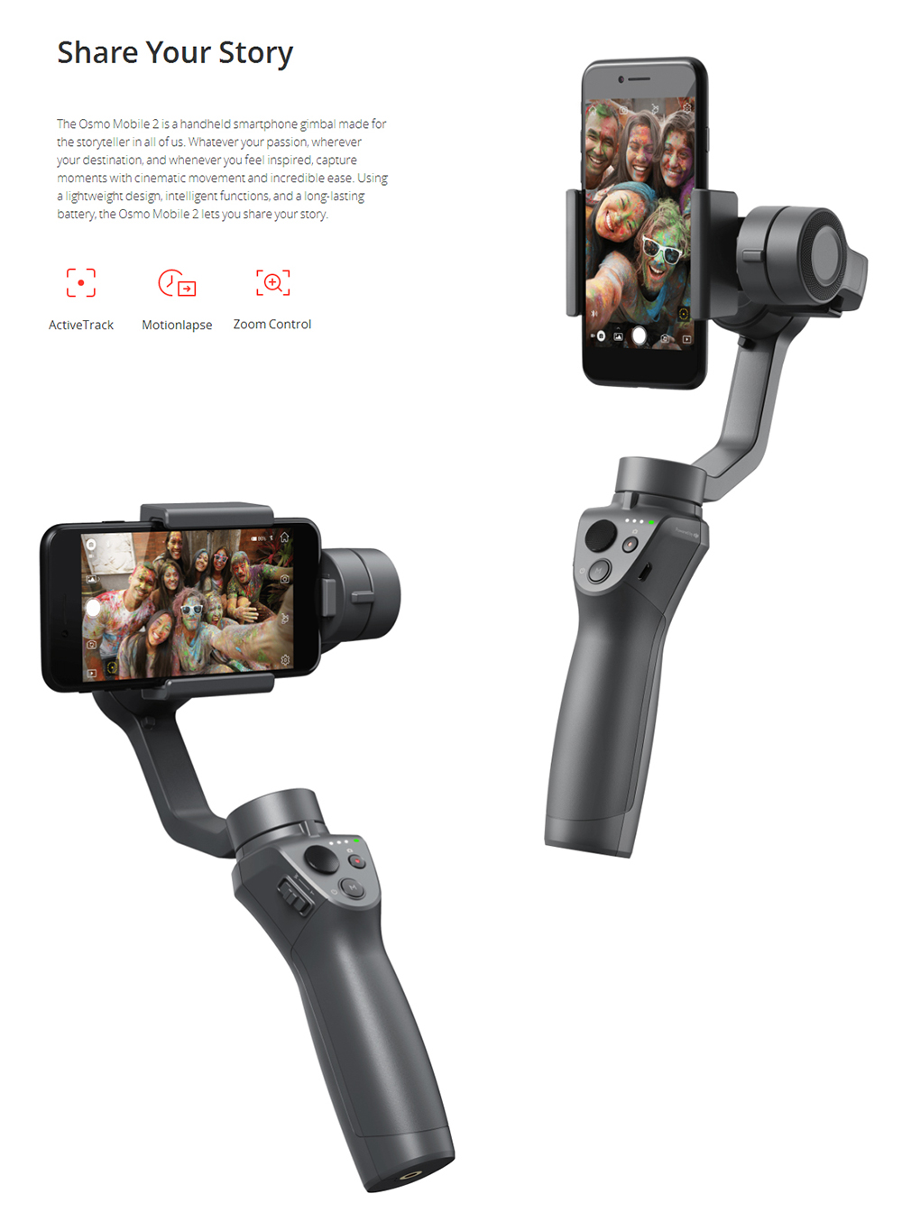 DJI OSMO Mobile 2 Handheld Gimbal Stabilizer Active Track Motionlapse Zoom Control for Smartphone- Black